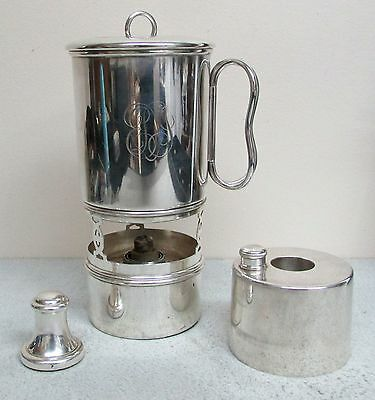 Tiffany & Co Silver Soldered Hot Toddy / Brandy 7 Piece Decanter & Burner & Cup