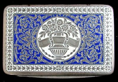 Beautiful Antique 800 Silver Snuff Box With Blue & White Enameling