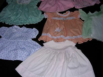 #Q  Lot of 7 CUTE  Vintage INFANT Baby Girl Dresses for Dolls