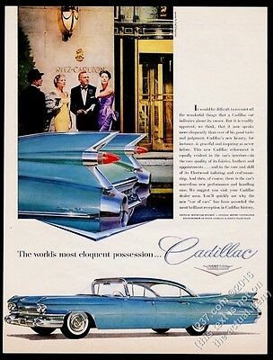 1959 Cadillac Sedan de Ville turquoise blue car photo vintage print ad