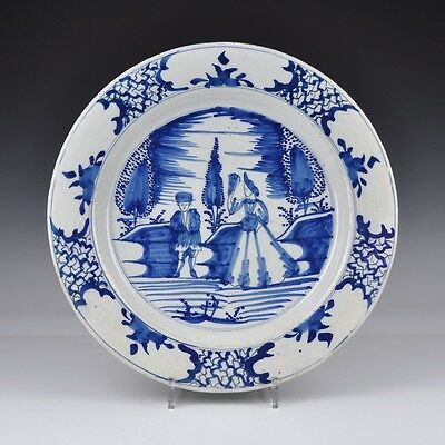 "Delft Blue And White 18th Century Charger ""Dutch Landscape With Couple"""