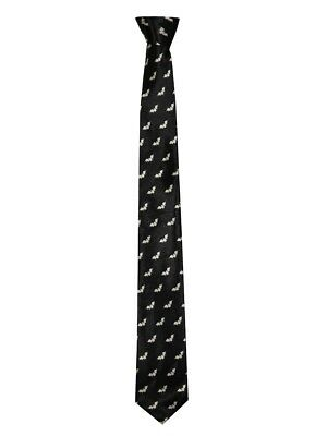 Black & White Bat Print Slim Tie