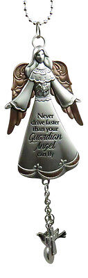 New Ganz Never Drive Faster Than Your Guardian Angel Can Fly Mirror Car Charm