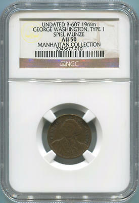 Undated B-607 19mm George Washington, Type 1 Spiel Munze. NGC AU50. Manhattan Co