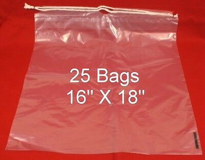 "25  Drawstring Tote Shoe Bag Clear Plastic Bags 16"" X 18""  NEW"