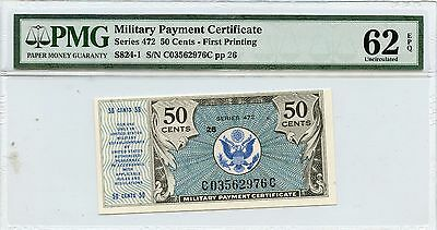 PMG 62 Uncirculated Series 472 50 cent Military Payment Certificate NR131