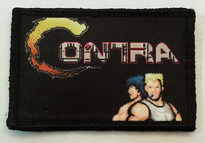 Contra Video Game Morale Patch Military Tactical Army Funny Flag USA Badge Hook