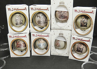 Hummel Glass Ornaments Lot of 8 with Stands Christmas by Krebs 2004-2001 w Box
