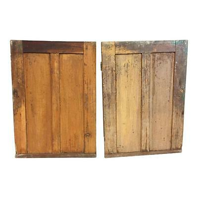 2 Vintage WOOD CABINET DOORS mortised rustic cupboard shabby pair panel cottage
