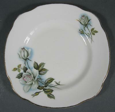 Shabby vintage ceramic Duchess England bone china plate white roses motifs -chic