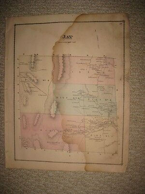 Antique 1878 Jay Orleans County Vermont Handcolored Map Rare Detailed Nr