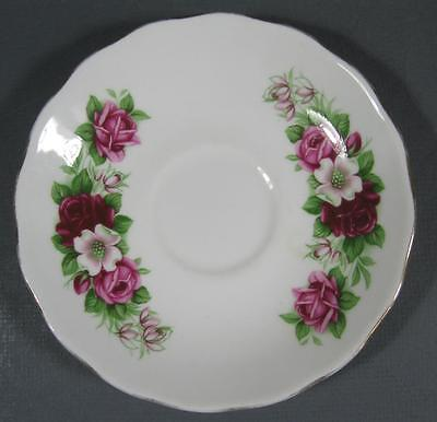Shabby vintage china Queen Anne England saucer pink rose/flowers chic