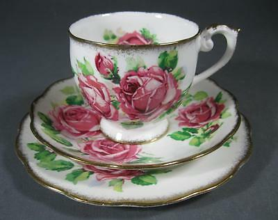 Shabby vintage Queen Anne 'Lady Margaret' trio bone china pink roses motif-chic