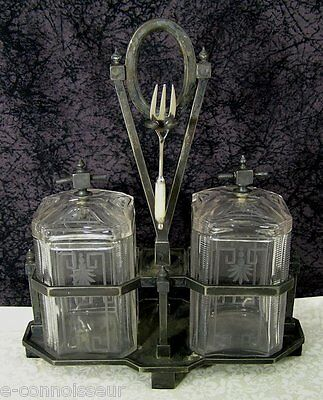 Antique EAPG Victorian Meriden Silverplate Etched Glass Double Pickle Castor
