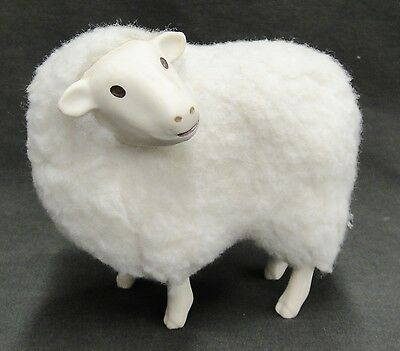 "Sheep Figure Fleece Body Pottery Head and Feet 5"" Tall Decorative Expressive"