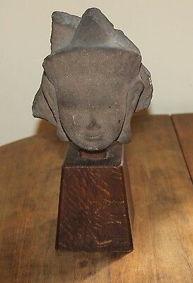 Antique Khmer Cambodia Stone Head on Wood Stand 6 X 5.5 X 3.5 inches