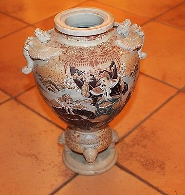 Large Satsuma Vase Urn on Feet with Male Figures Flowers Griffin Handles