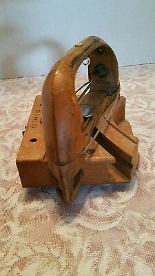 Vintage Wooden Shuttle for Ribbon Curved Track, Lace Loom, Wood, Working Gears