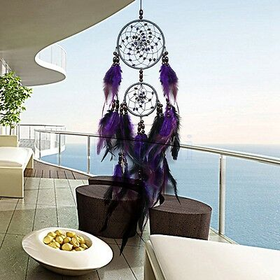 Retro Purple Two Circles Dream Catcher Lobby Living Room Balcony Hanging Hot FA