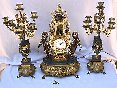Imperial Clock Set with Brevettato Candelabra, Franz Hermle Movement & Key