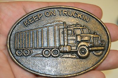 Vintage 1970s Keep On Truckin Trucking Trucker Semi Brass Tone Belt Buckle Rare