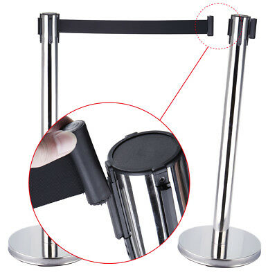 2 x Retractable Belt Queue Barriers Crowd Control Barrier Post Stand Stainless