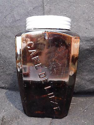 ANTIQUE ACKER MERRALL & CONDIT NY AMBER glass CAFE DE LUXE CANISTER coffee jar