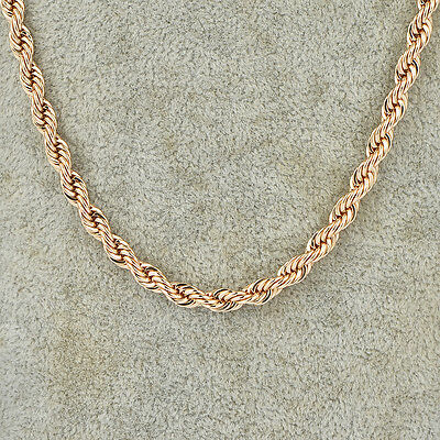 mens solid 14k gold plated yellow link necklace rope chain hip hop chain 25inch