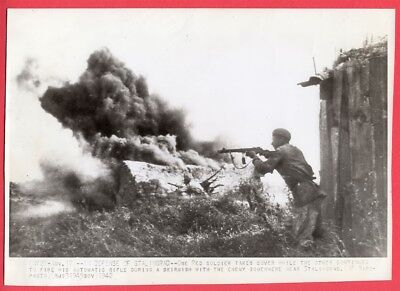 1942 Red Army Soldiers in Combat Near Stalingrad Russia Original News Wirephoto