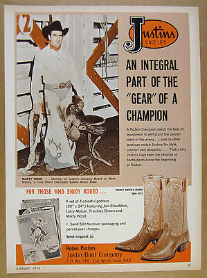 1972 rodeo cowboy Marty Wood photo Justin Boots vintage print Ad