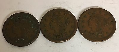 Lot Of Three Assorted U.s. Copper Large Cents 1827, 1851, 1853.