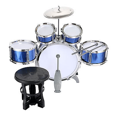 Kids Drum Set Kids Toy with Cymbals Stands Throne Blue Silver Boys Toy Drum Kit