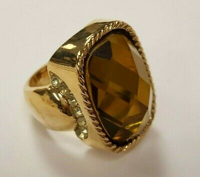 Vintage Gold Plate Topaz Acrylic Facet Oval Jewel Rhinestone Cocktail Ring  S546