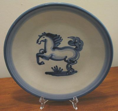 "M A Hadley 9"" Blue/White Horse Luncheon Plate, Pre-Owned, Excellent Cond."