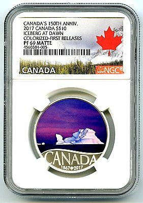 2017 $10 Canada 150Th Silver Proof Ngc Pf69 Iceberg At Dawn First Releases