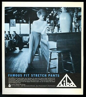 1960 Libo skiing stretch ski pants pretty woman at bar photo vintage print ad
