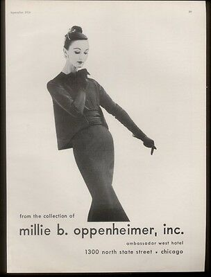1956 Millie B. Oppenheimer woman's suit photo vintage fashion print ad