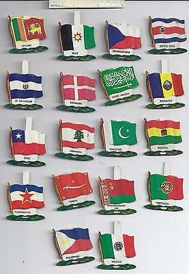 Lot of 18 Diff #4 1959 NABISCO NATIONAL FLAG Tin Tab Pins Shredded Wheat Cereal