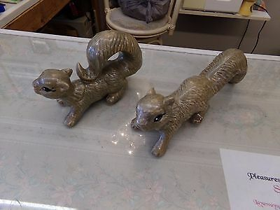2 Scampering Squirrels Lawn / Garden Ornament Gray Brown