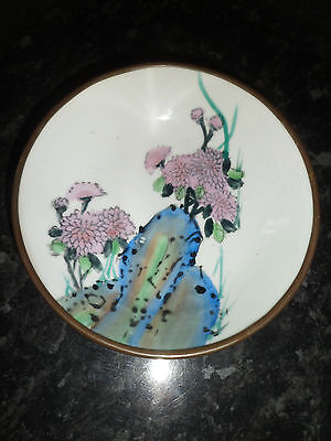 Vintage,beautiful,hand Painted,japanese Ceramic & Brass Wall Plate