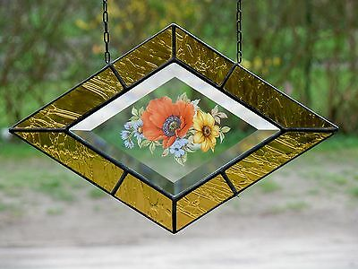 Leaded glass Window image Stained - Facet with Real Antique in Tiffany