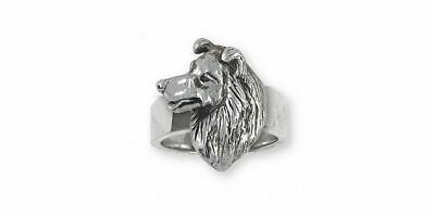 Border Collie Ring Jewelry Sterling Silver Handmade Dog Ring BDC6-R