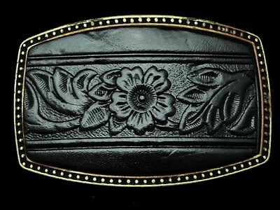 KL01173 *NOS* GREAT VINTAGE 1970s **FLORAL DECOR** LEATHER WESTERN BELT BUCKLE