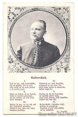 POSTCARD Czech Folk Song spinning wheel Frantisek Krejcik composer kolovratek