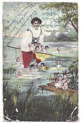 POSTCARD Unusual Czech Bohemian Art Photo - fishing for babies? odd creepy funny