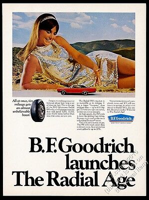 1969 woman in sequin dress Plymouth Road Runner photo BF Goodrich tire print ad