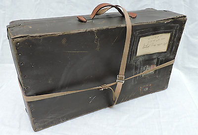Vintage Shipping Mailing Suitcase Hard Fiber Rough Rider Trunk Mail Case