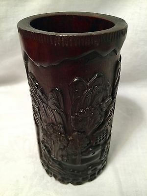"""Carved Chinese Brush Pot Pastoral Scene 5 1/2"""" Tall"""