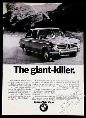1970 BMW 2002 car photo The Giant Killer vintage print ad