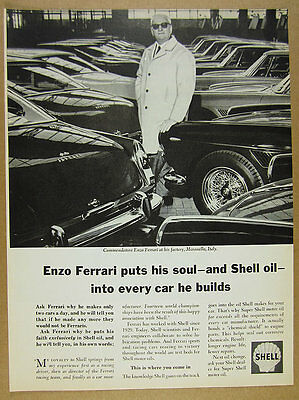 1966 Enzo Ferrari at factory photo Shell Oil vintage print Ad